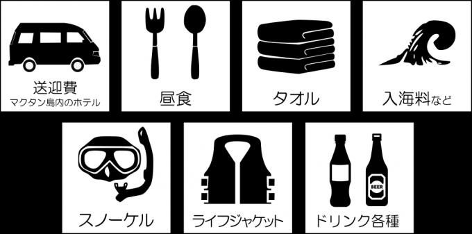 ESTEJapanのアイランドホッピングの価格に含まれるものがイメージできる画像