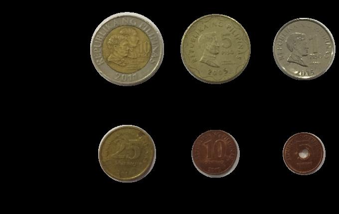 フィリピンの硬貨6種類の画像
