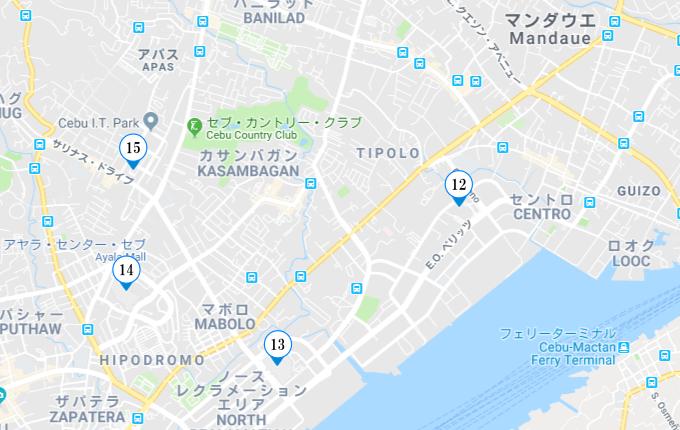 セブ市内の両替所の地図