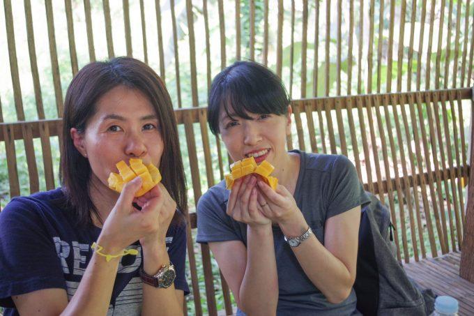 カカオ農園でマンゴーを食べる女性2人