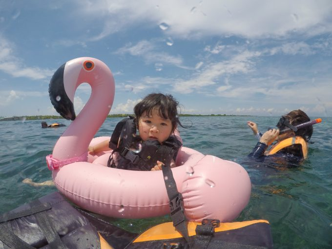 フラミンゴの浮き輪と子供の写真