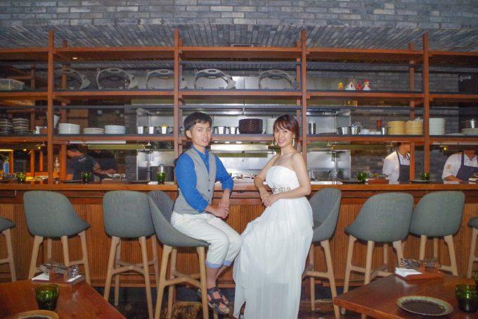 レストランのピグ&パームでウェディングフォトの写真