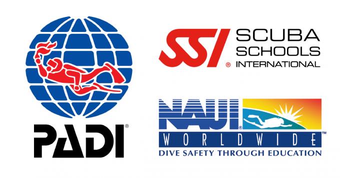 ダイビングメジャー3団体のロゴ