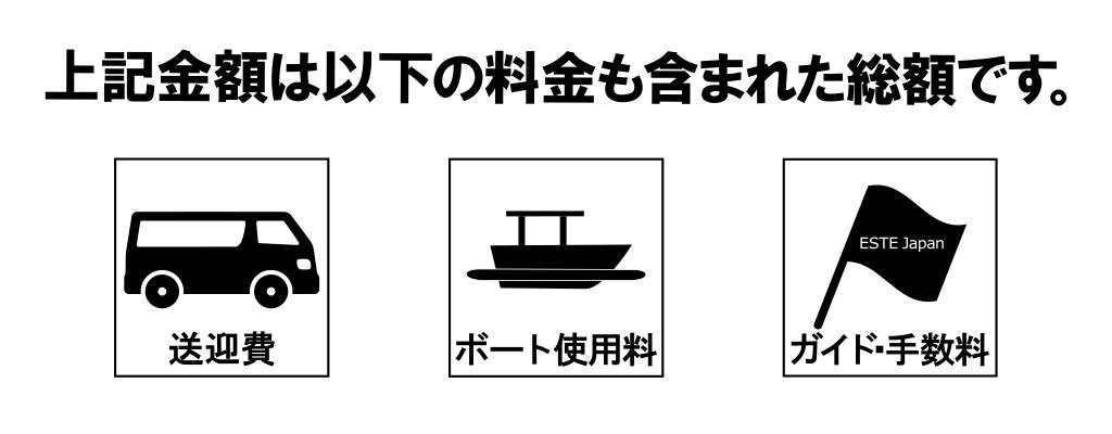 貸切ボートの金額に含まれる物2019年