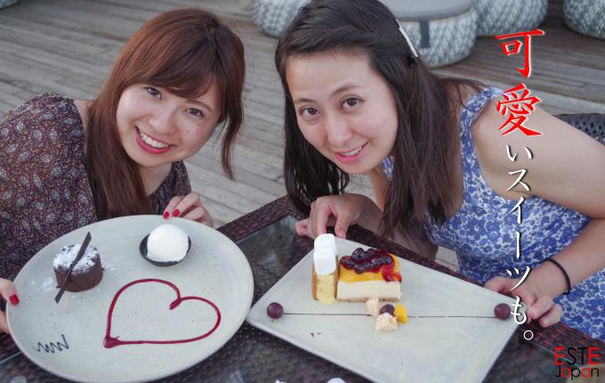 日本人ガイドを利用してデザートを食べにへ行った女性2名
