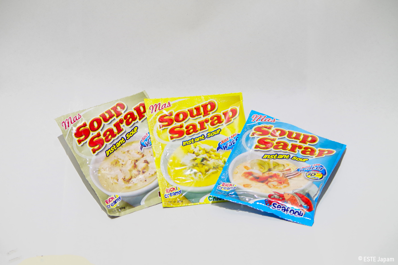 3種類のインスタントスープ