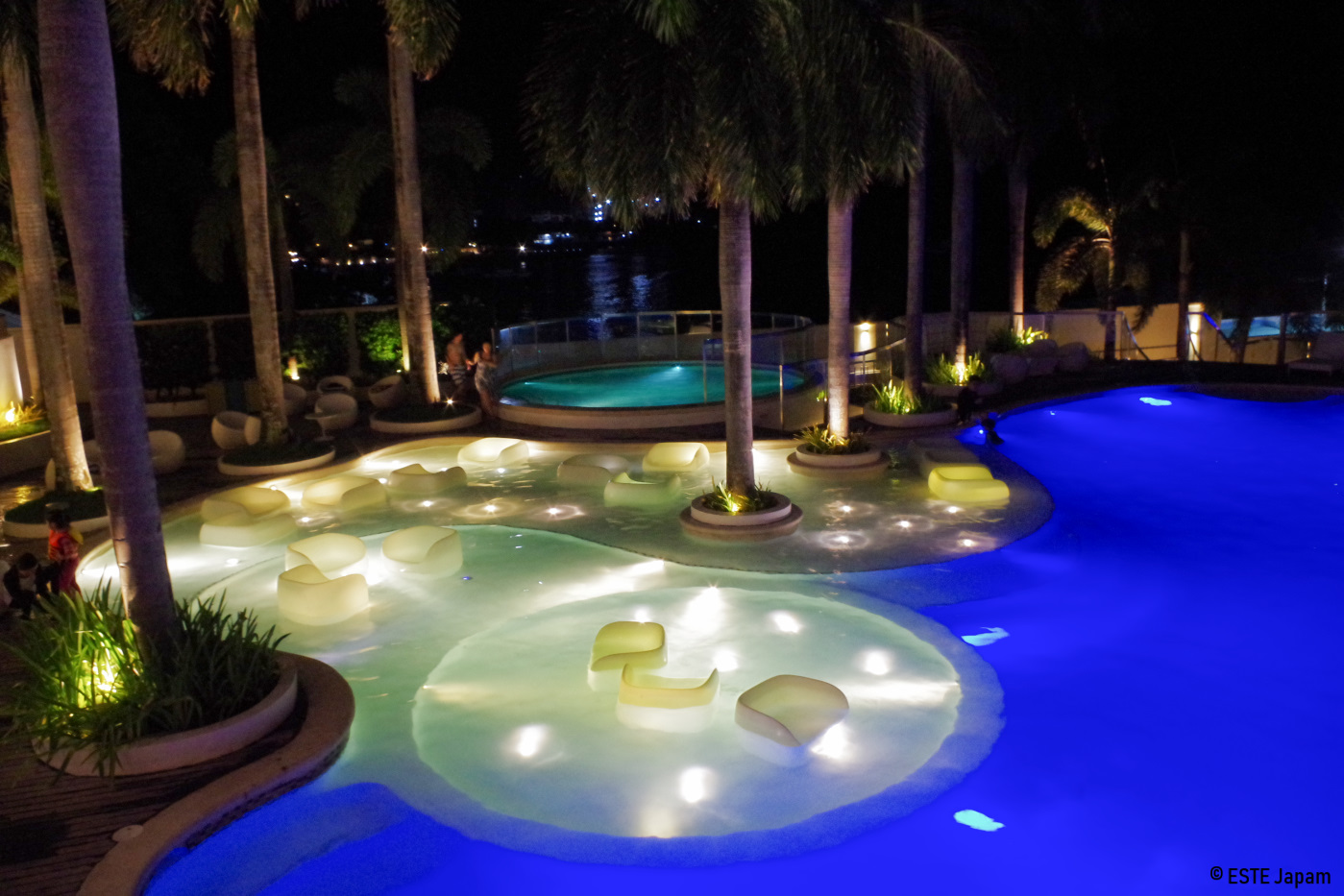 モーベンピックホテルの夜のプール